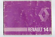 Carnet d'utilisation et entretien de la Renault 14