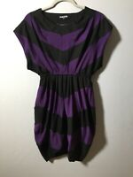 Dangerfield Womens Black And Purple Striped Dress Size 8 Good Condition