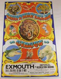 Original Chipperfield's Circus Poster. Exmouth Animal Clowns 1970's. W E Berry