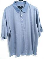 Nike Golf Tiger Woods Mens Size Large Blue White Striped Short Sleeve Polo Shirt