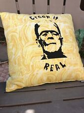 Frankenstein Creep It Real Yellow Screenprinted Pillow Handmade Throw Pillow