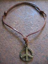 Peace Halskette Anhänger Herren Surferkette  Peacekette Damen braun Kette