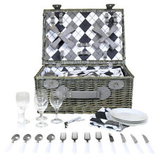 Grey Wicker Picnic Basket Hamper Set For 4 Person - Checkered Lining