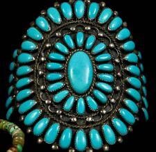 Rustic 1960s Old Pawn Vintage NAVAJO Petit Point Sterling & Turquoise Bracelet