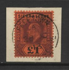 Sierra Leone KEVII £1 Purple & Black on Red Value Used