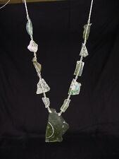 BUTW Antique Iridescent 1st Century Roman Glass Bead Pendant Necklace 6798K