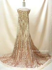 Rose Gold Sequin Mesh Lace Fabric 51''/ Y Bridal Dress Gown Sold by the Yard New