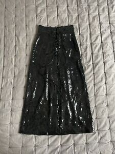 Vilshenko Sample Black sequin lace up midi skirt 8 UK
