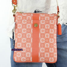 NWT Coach Waverly Signature Stripe Swingpack Crossbody Bag 43625 Coral NEW RARE