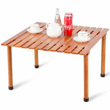 Wood Roll-Up Table Folding Camping Table Outdoor Indoor Picnic w/Carry Bag