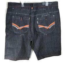 Parish Nation Jean Shorts Size 44 Button Fly DARK WASH Orange Design NEW
