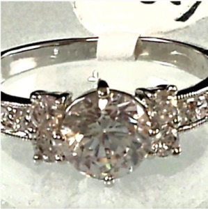 Ladies Silver Plated  Cubic Zirconia Promise Cocktail  Ring Sizes 5, 9