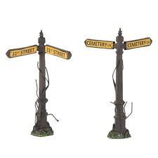 Creepy Street Signs Set of 2 Figurine Dept 56 Halloween Village Accessory
