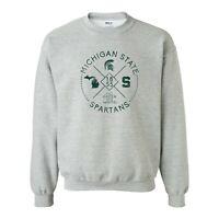 Michigan State Spartans Identity Stamp Crewneck Sweatshirt - Sport Grey