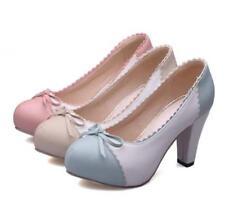 Lolita Mary Jane High Heels Slip on Ladies Shoes Bowknot Autumn Size Fashion New
