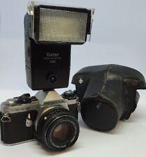 Pentax ME Super 35mm SLR Film Camera with 50mm lens Kit.Tested+Case+Flash#77