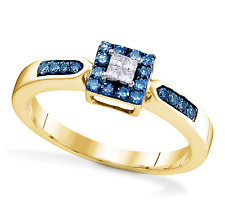 10K Yellow Gold Blue & White Diamond Ring .25ct Diamond Square Cluster Ring
