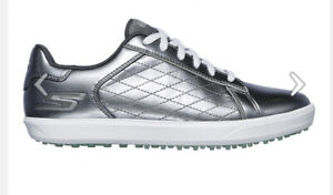 Sketchers Go Golf-Drive Pewter Shine Woman's SZ 9 14881 Golf Shoes New