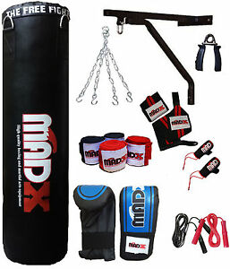 MADX 13 Piece 5ft Boxing Set Filled Heavy Punch Bag Gloves,Chain,Bracket,Kickbag