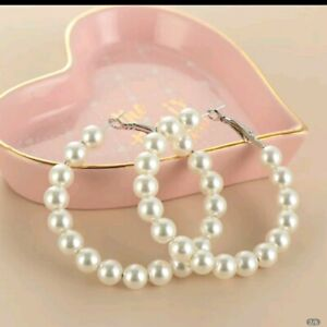 PEARL HOOP EARRINGS 4CM IDEAL BRIDE BRIDESMAID BIRTHDAY GIFT.