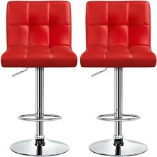 2pcs Bar Stools Pu Leather Chair Height Adjustable Kitchen Counter Stools Red