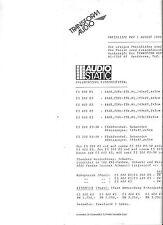 AUDIOSTATIC Preisliste ES 200 300 600 900 RS Elektrostaten SEHR SELTEN !!! 8/90