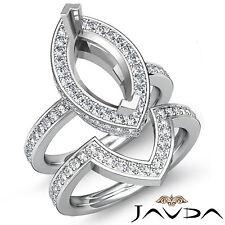 Diamond Marquise Wedding Band SemiMount Ring 14k Gold White Bridal Setting 1.8Ct