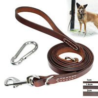 6FT Genuine Leather Dog Leash Leads Rope for Large Dogs Training Walking Brown