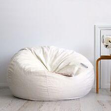 Large Ivory FUR BEANBAG Cover Soft Velvet Feel Bean Bag + Liner - Ivory & Deene