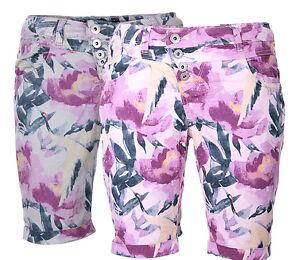 Rock Angel Damen Shorts Bermuda Short Sommer Short Flower 5 POCKET Blumen muster