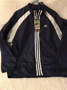 NWT Adidas Men's Sz M Full Zip ClimaProof Training Jacket White Blue Windbreaker