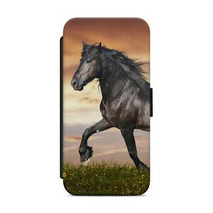 Black Horse Animal WALLET FLIP PHONE CASE COVER FOR IPHONE SAMSUNG HUAWEI     27