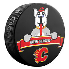 """Official NHL Licensed puck of the Calgary Flames Mascot """"Harvey the Hound"""""""