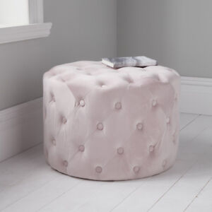 Tufted Button Detail Velvet Pouffe Footstool - Available 4 Colours