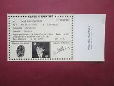 RARE CARTE  IDENTITE PUBLICITAIRE N° 20 PAUL MAC CARTNEY 1966 ETAT NEUF