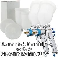 Devilbiss SLG-620 Spray Gun Gravity Feed 1.3/1.8 Primer/Paint/Lacquer+Spare Cups
