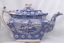 Antique Transferware Teapot Blue & White Oriental Scenes Pagoda Wood & Sons