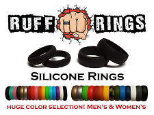 BLACK Silicone Ring / Weding Band -Crossfit Gym Ring Workout Flex Qalo Ring Band