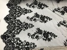 Elegant Black Hand Beaded Lace Embroider Flowers On A Mesh-prom-sold by the yard