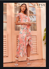 Lipsy One Shoulder Floral Print Coral Maxi Ruffle Dress Size 14 NEW