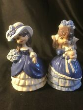 2 Victorian style Blue and White Figurines Ceramic Girl w/ Cat & Girl w/ Flowers