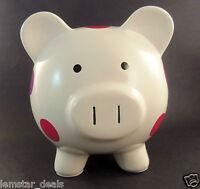 White Ceramic Pig Piggy Bank With Polka Dots