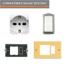 SCHUKO M4140/16+INTERRUTTORE 5011+TELAIO+PLACCA BRONZO COMPAT. MAGIC BTICINO