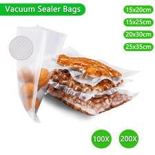 100/200PCS Vacuum Sealer Bags Precut Food Storage Saver Heat Seal Cryovac 4 Size