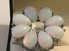 Valeska Silver Glass Moonstone BIG Flower Daisy Ring Size 8