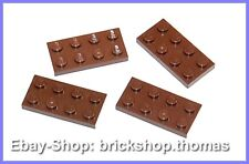 Lego 4 x Platte (2 x 4) - 3020 braun - Reddish Brown Plate - NEU / NEW