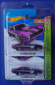 Hot Wheels 2014 '70 PLYMOUTH AAR CUDA 199/250 Purple short/long card set