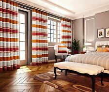 Modern Striped Heavy Chenille Eyelet Top Curtain Fully Lined Pimlico 66x72 Inch Curtains Orange 12399199