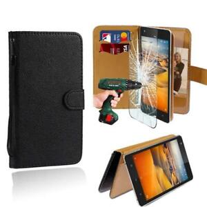 Leather Stand Wallet Case + Tempered Glass Screen Protector For OUKITEL Phones