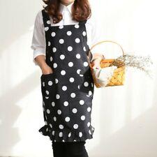 Women Spotted Ruffle Pocket Waterproof Apron Pinafore Dress Home Cook Workwear